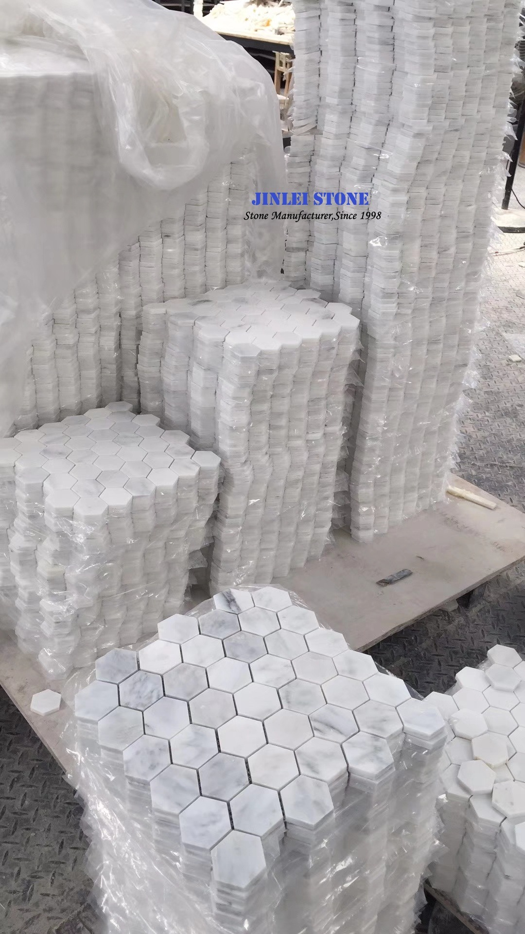China White Carrara Marble Mosaic Tile for Kitchen Bathroom Wall