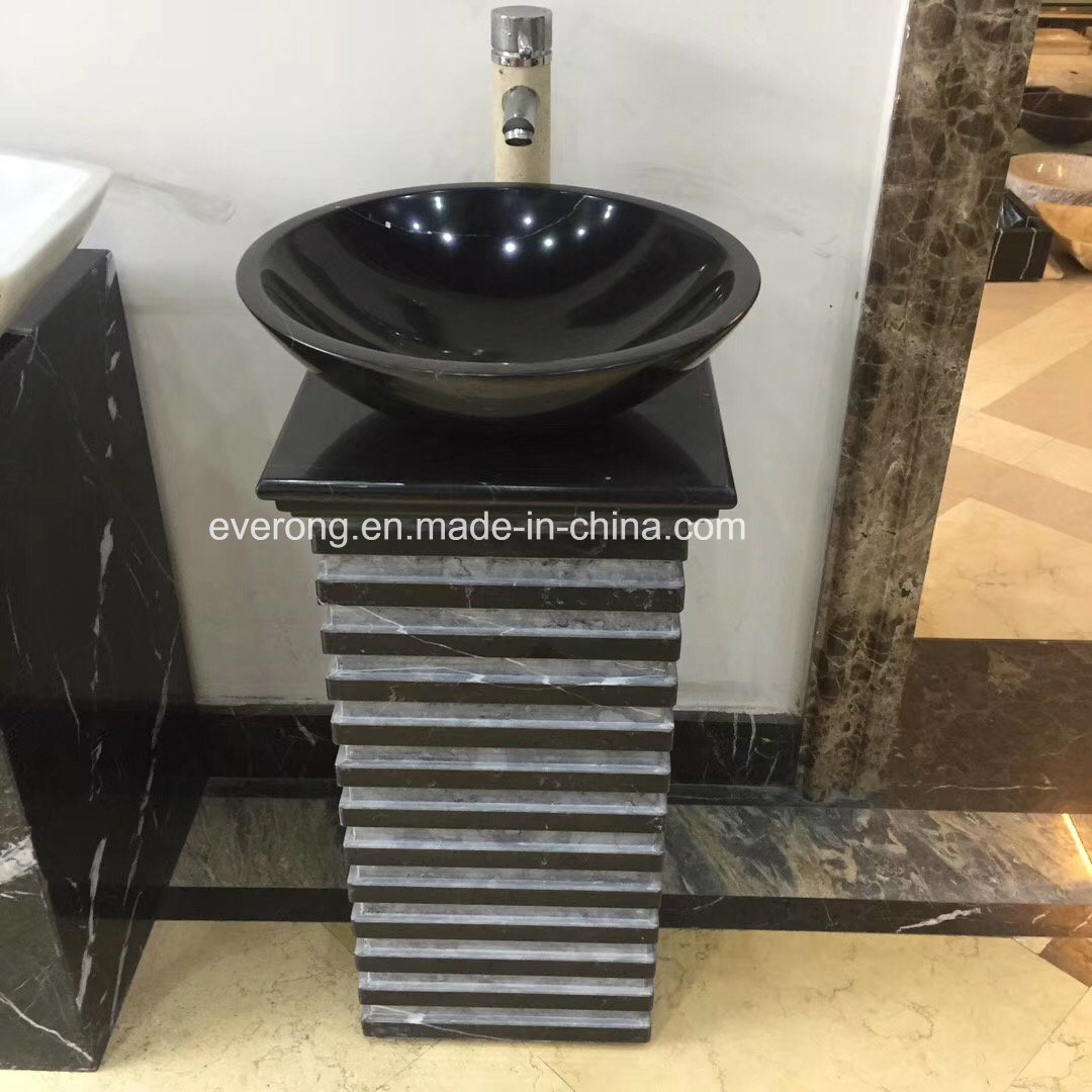 China New Design Natural Black Granite Pedestal Wash Basin For Bathroom China Natural Stone Sink Stone Wash Basin