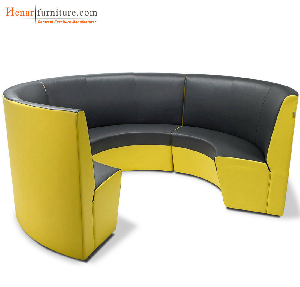 - China Contenporary Yellow Leather Curved Round Restaurant Booth