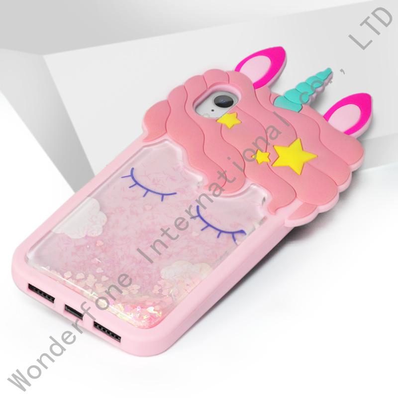 3D Liquid Glitter Unicorn iPhone Case
