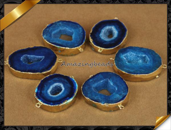 Designer Natural Geode Slice Druzy 24k Gold Plated Connector Gemstone Jewelry