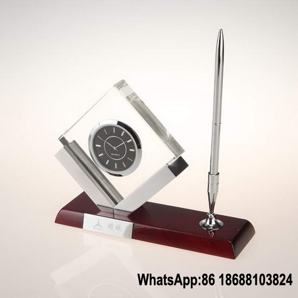 China K9 Crystal Glass Table Clock With Pen Holder   China Crystal Glass  Clock With Pen Holder, Office Gift