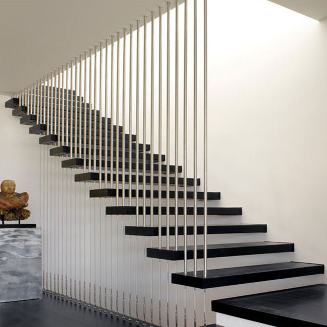 China Modern Staircase Design Wood Tread Floating Stairs China