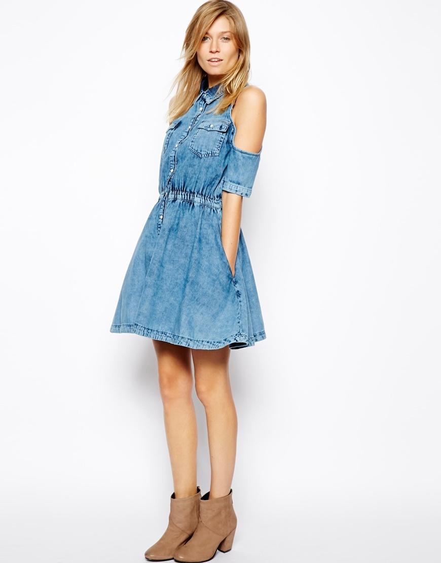 [Hot Item] Factory Price Cotton Denim Shirt Dress Plus Size with off  Shoulder (JK103)