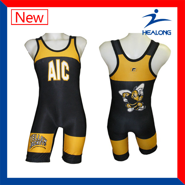 Healong Blank Gym Mens Stringer Singlet Wholesale Wrestling Singlets pictures & photos