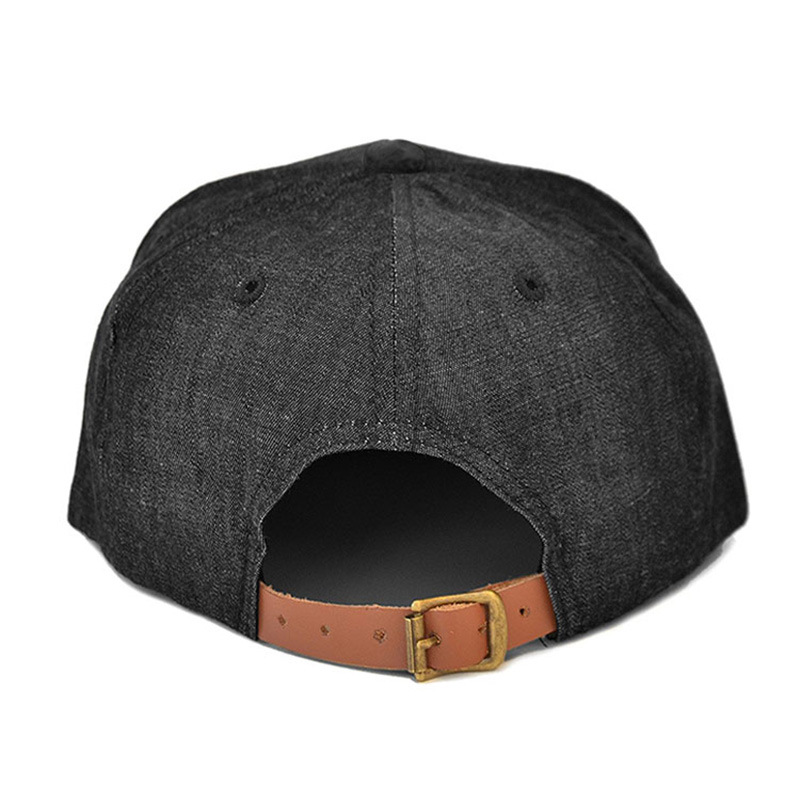 China Wholesale Black Plain Denim Hat Leather Patch Cowboy Snapback ... a10f60efdd3