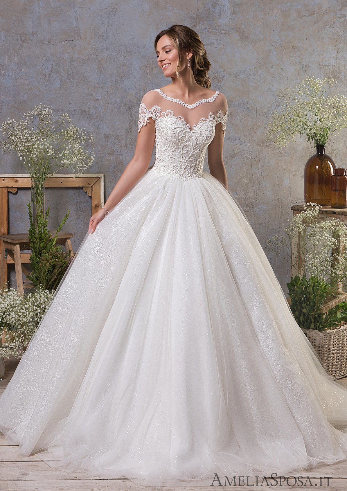 China Amelie Rocky 2018 Short Sleeves Ball Gown Wedding Dress