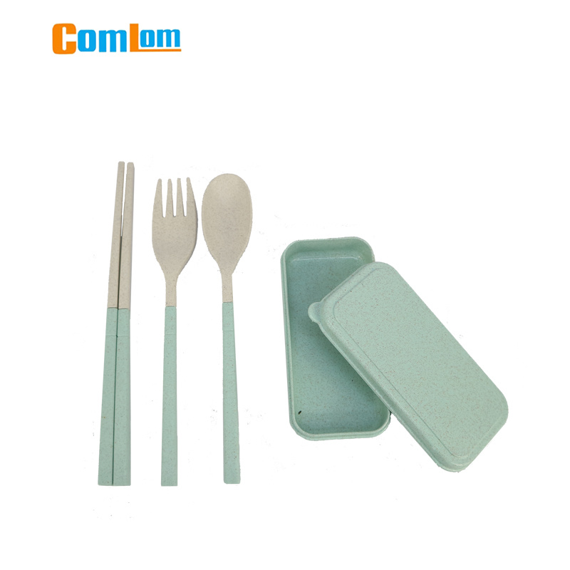 Portable Wheat Straw Cutlery Travel Fork Chopsticks Spoon Camping Picnic