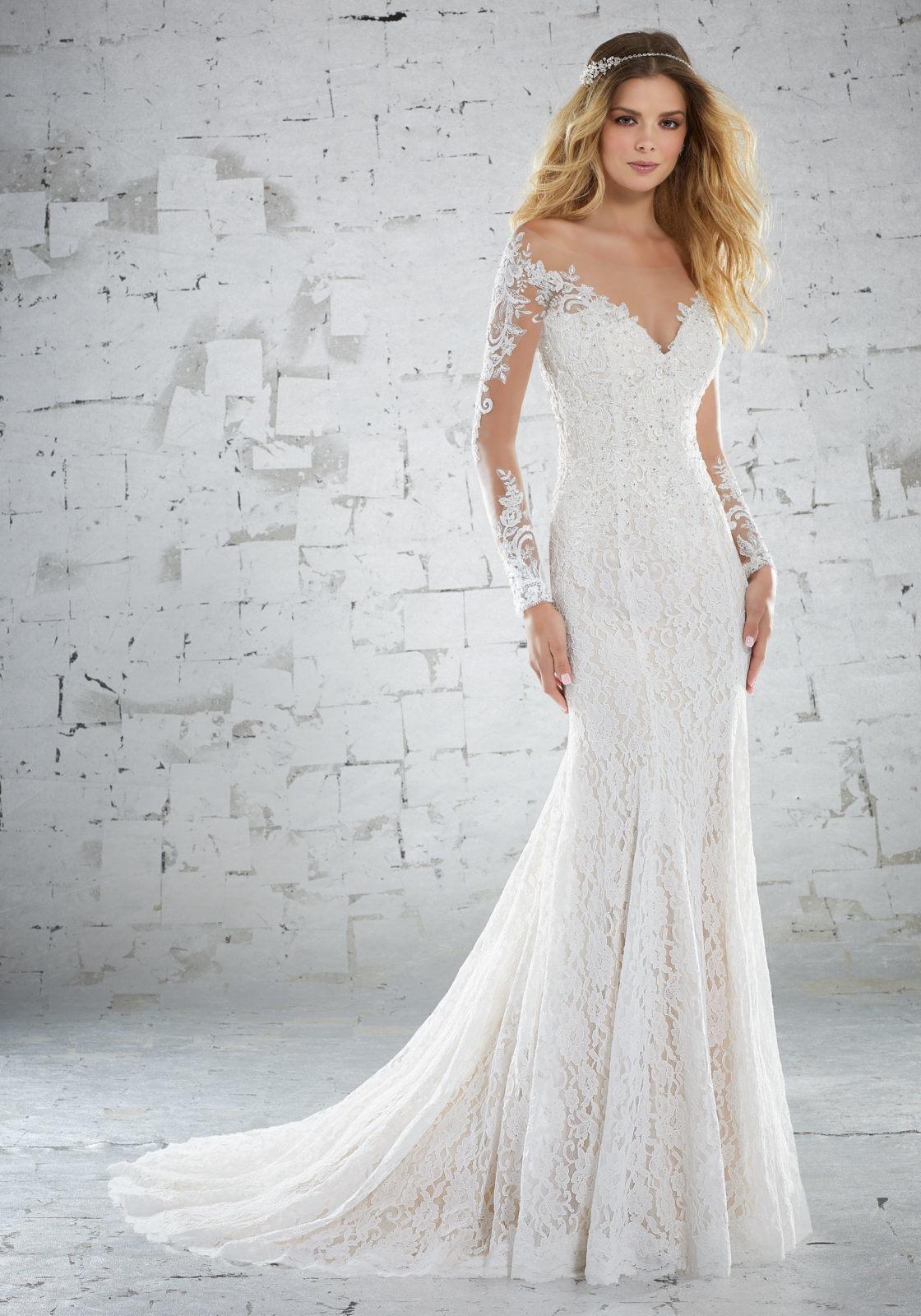 Beach Wedding Dresses.Hot Item Lace Bridal Gowns Long Sleeves Lace Mermaid Beach Wedding Dresses Y6888