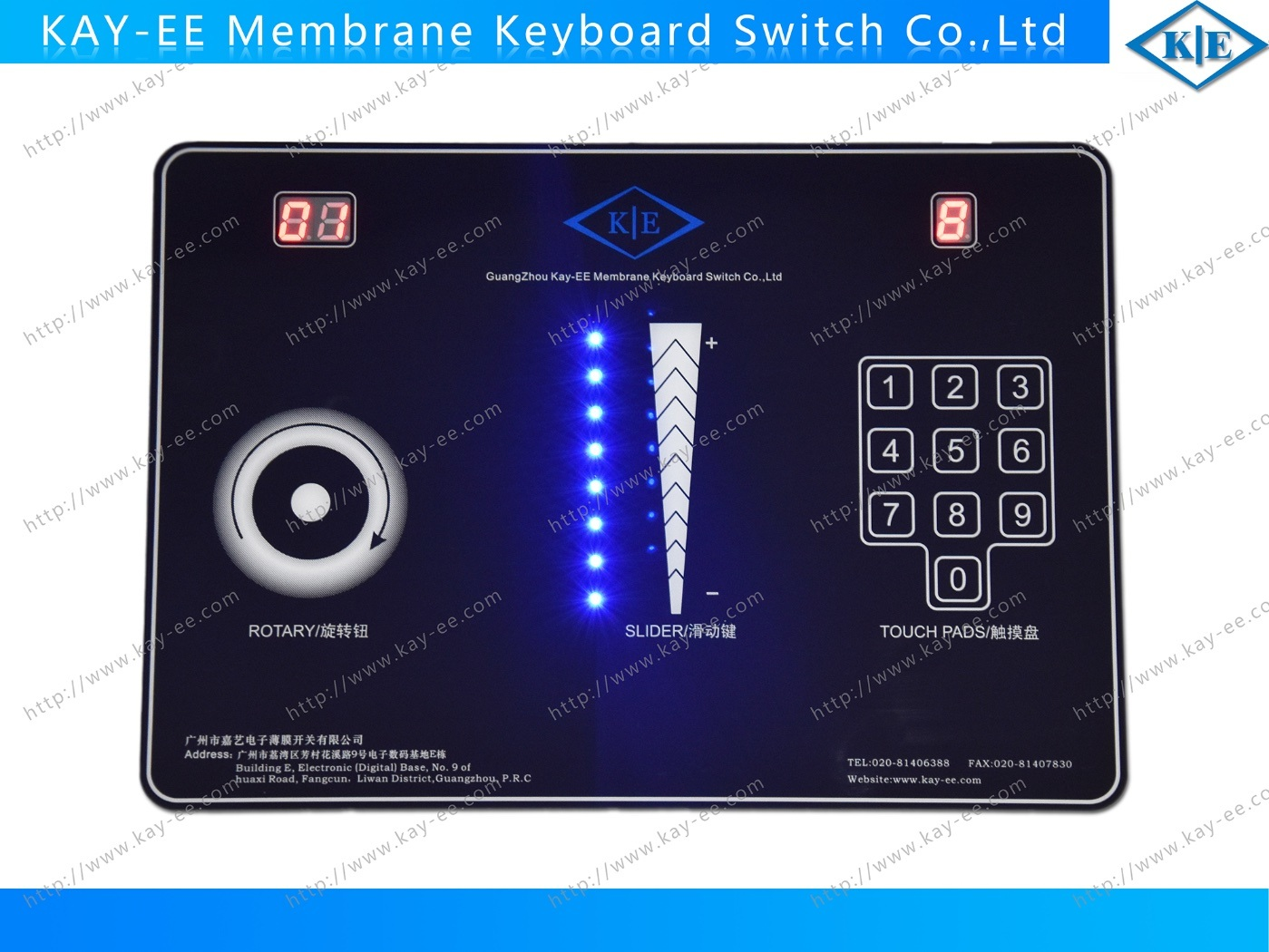 LCD Rotary /Slide Capacitive Membrane Touch Switch with LEDs pictures & photos