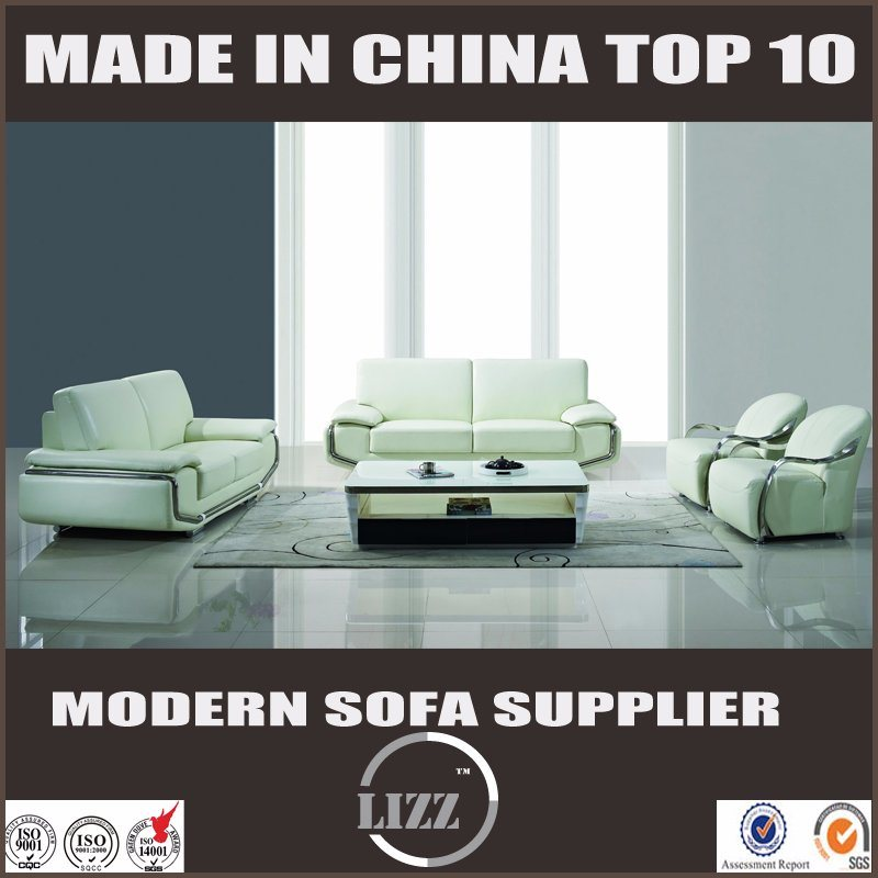Luxury Steel Arm White Color Leather Sofa Set