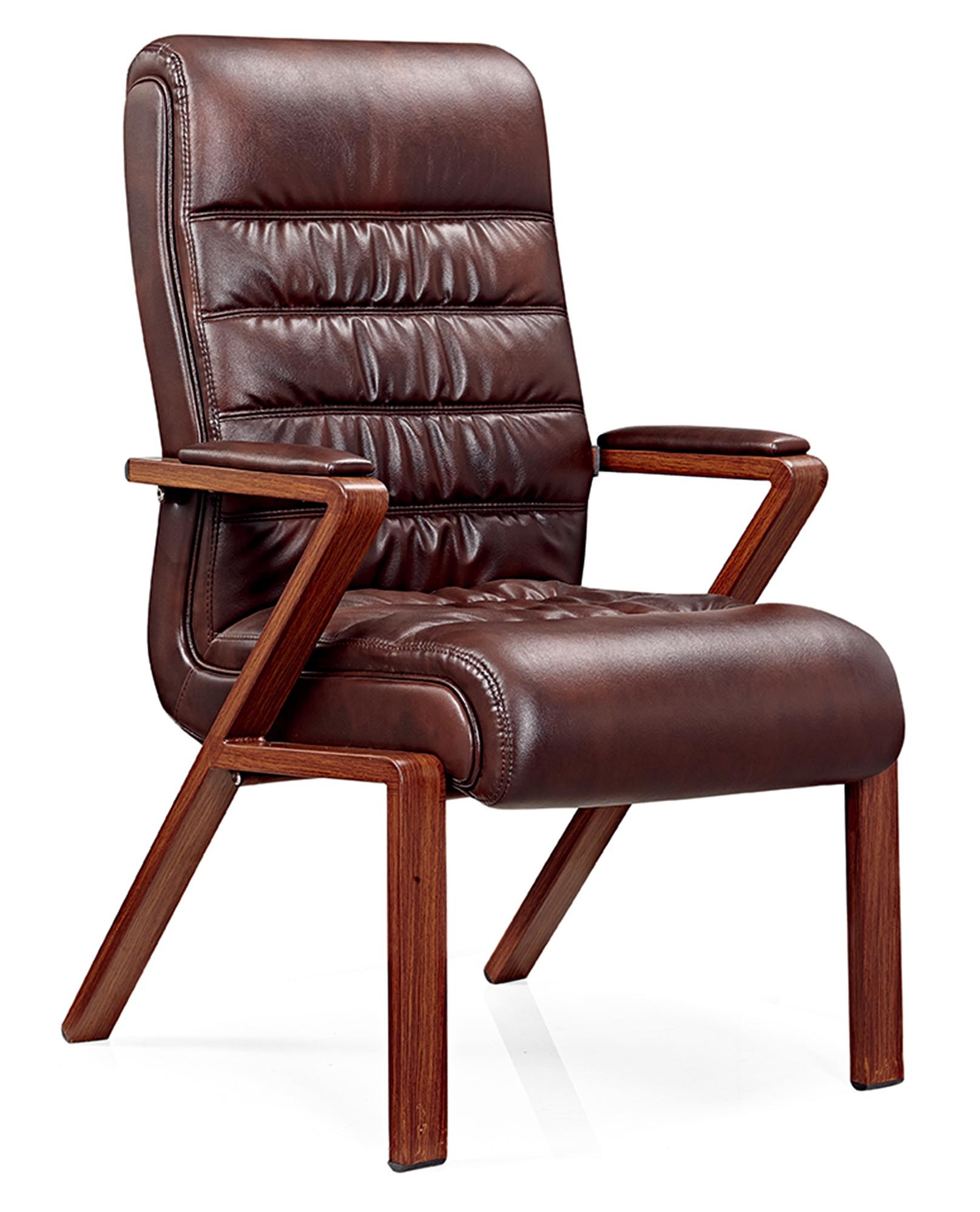 China Modern Brown Leather Wooden Office Chair For Visitor