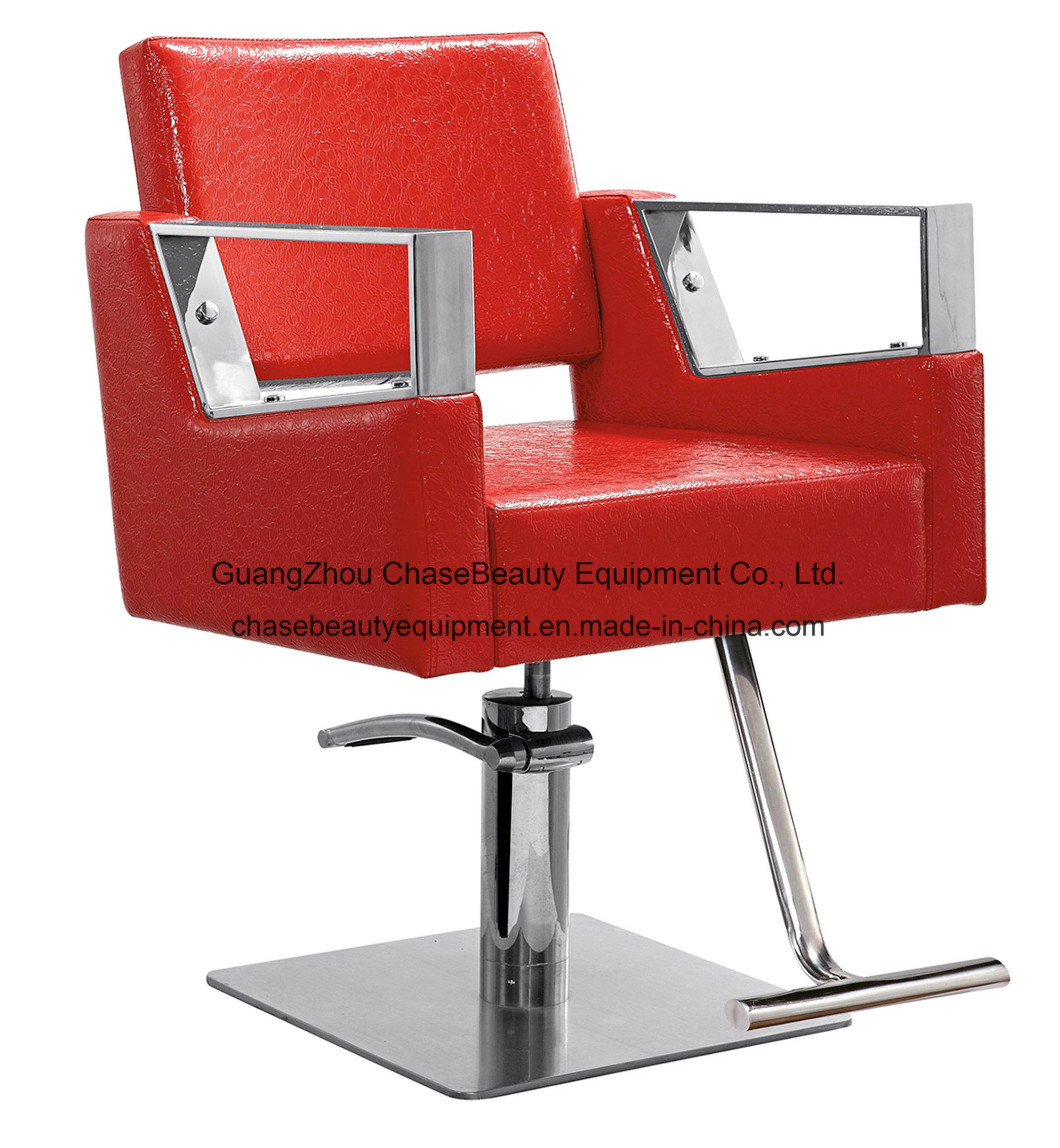 China Red Styling Chair with High Quanlity PU Leather for Salon Shop