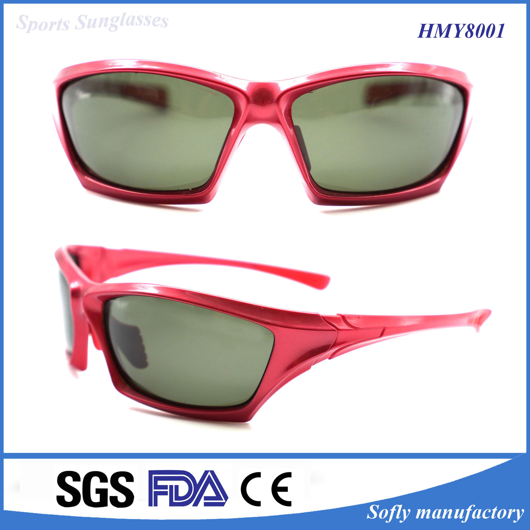 Fashion OEM Brand Designer Sports Polarized Plastic Sunglasses