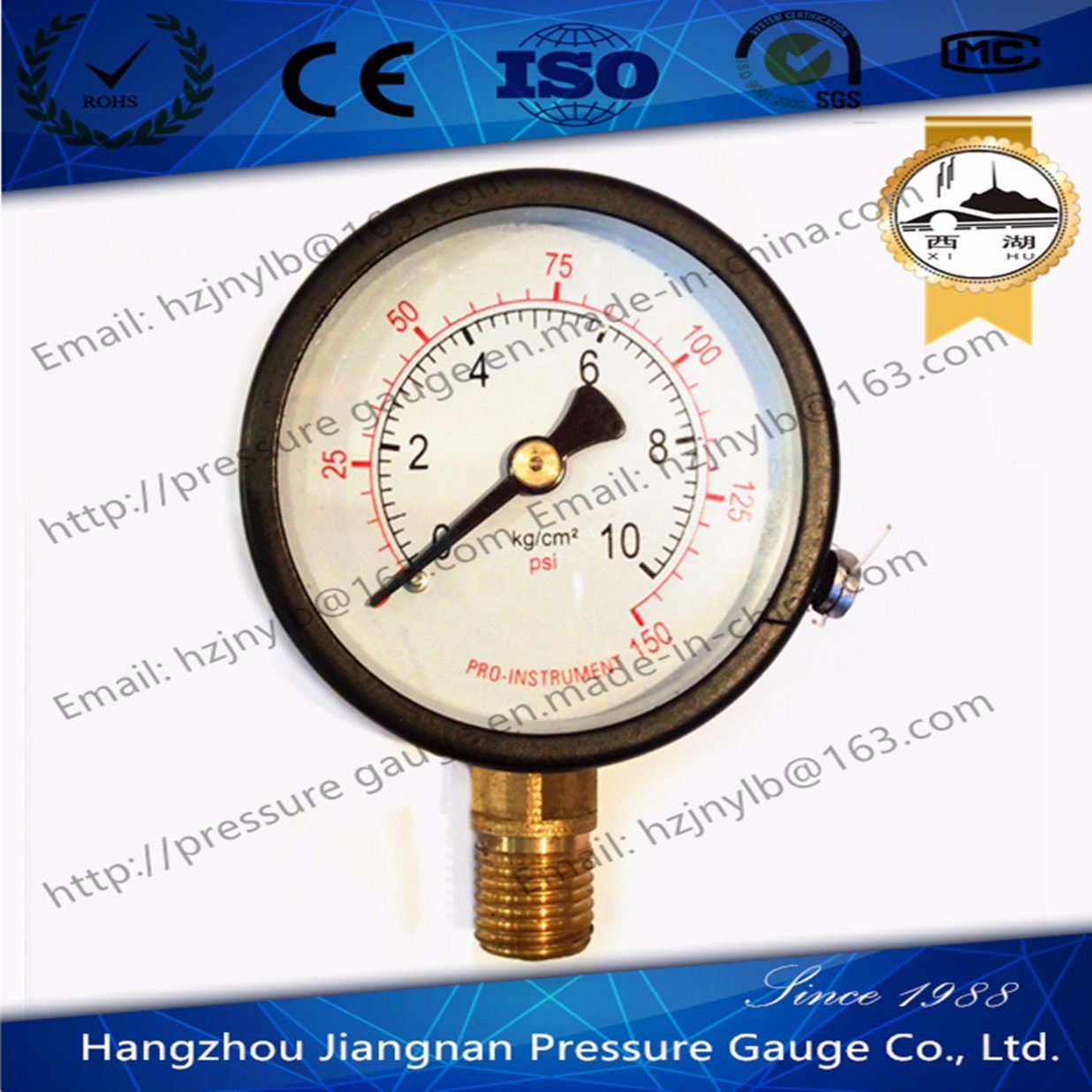 60mm 2.5′′ General Pressure Gauge with Black Case