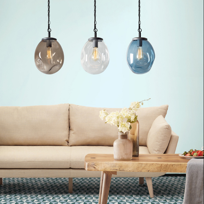 704cd7a80dfb Contemporary Hand Blown Glass Shade Hanging Lamp Pendant Lighting in  Transparent/Blue/ Cognac Color