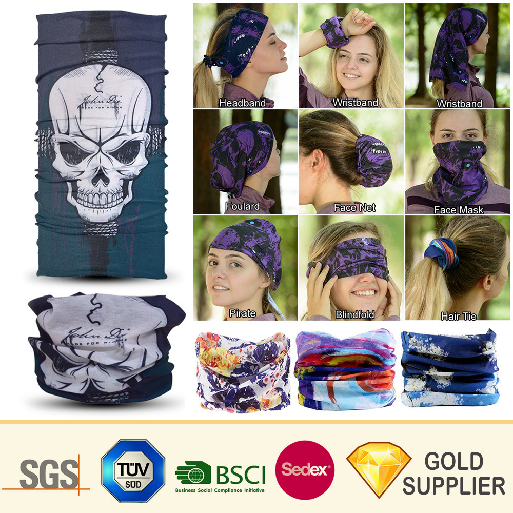 China Cheap OEM Custom Multifunctional Seamless Tube Scarf Bandana Freedom  Bondage Multi Neck Polyester Microfiber Fleece Skull Magic Headwear Bandana  for ... 2a8ea1db351