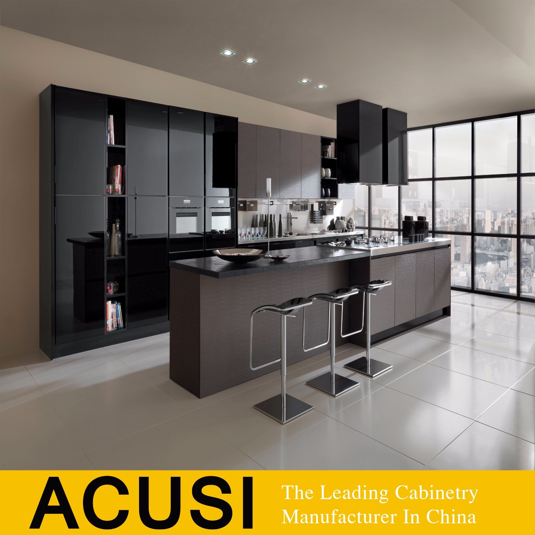 Hot Item 2018 High Gloss Lacquer Black Color Modern Kitchen Cabinet Acs2 L235