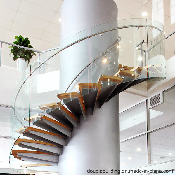 China Solid Wood Floating Gl Railing Indoor Modern Curved Staircase