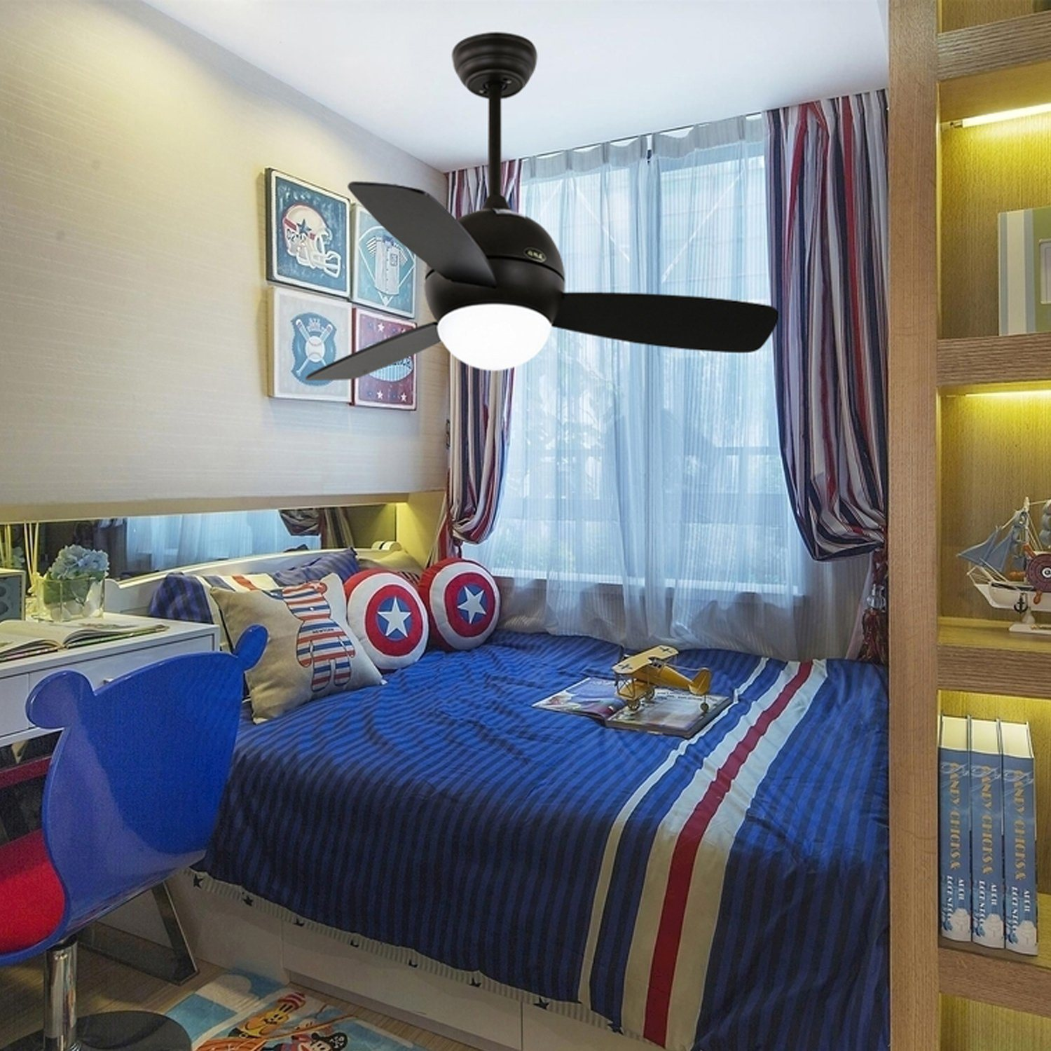 China Mini Size Kids Room Department Use Led Light Ceiling Fan Photos Pictures Made In China Com