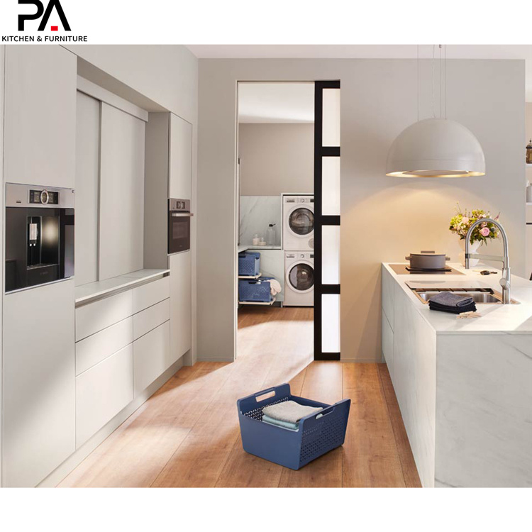 China Wholesale Italian Design High End Modern Light Gray Pvc Finish Building Kitchen Cabinets Photos Pictures Made In China Com