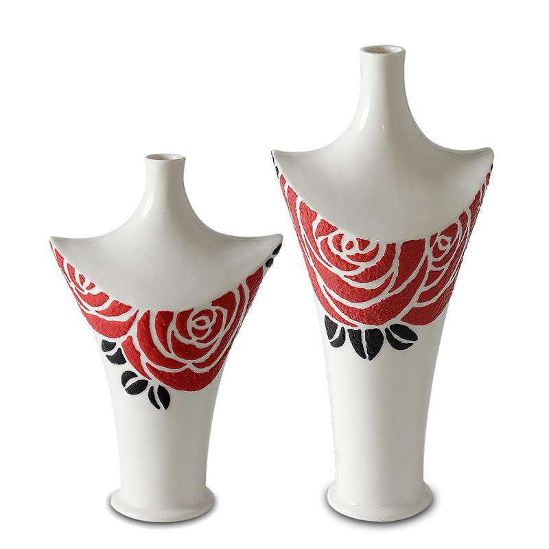 [Hot Item] Decorative Porcelain Vase with Glazed Rose for Home or Hotel  Decoration/ Artistic Vase/ Vase with Glazed Rose