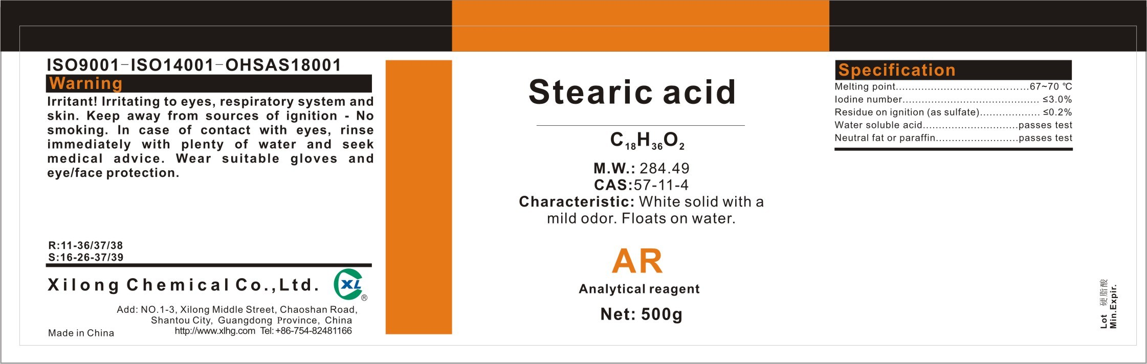 why is stearic acid insoluble in water
