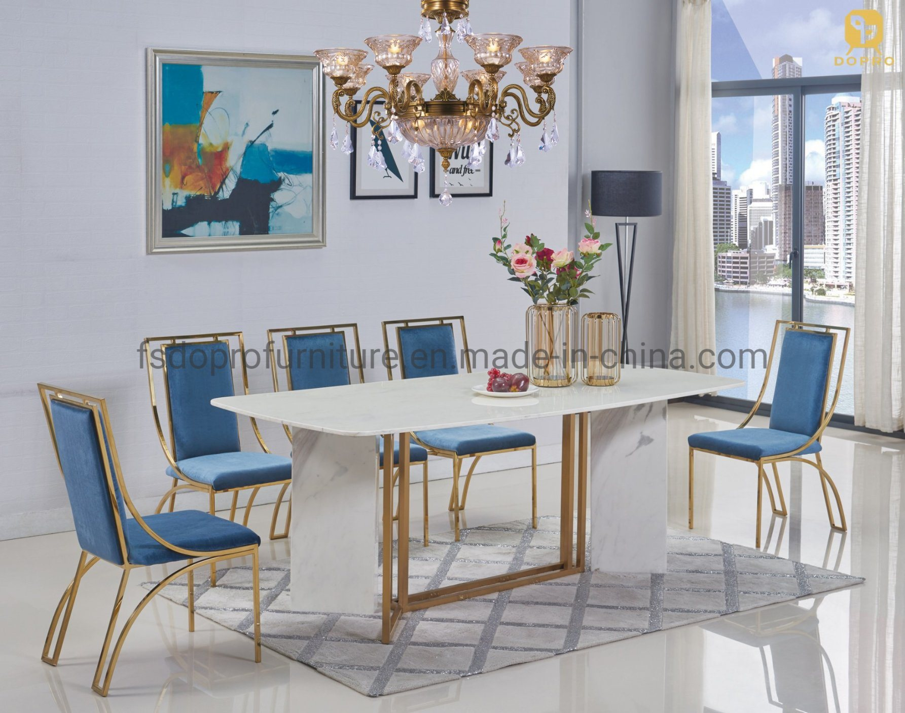China Modern Luxury New Design White Marble Top Stainless Steel Leg Metal Dining Table D1806 Photos Pictures Made In China Com