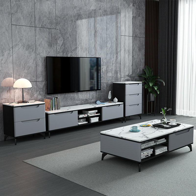 China Modern Fashion Personalized Marble Top Solid Feet 2 Drawer Storage Live Room Furniture Grey Tv Unit Tv Stand China Tv Stand Unit Tv Unit Grey