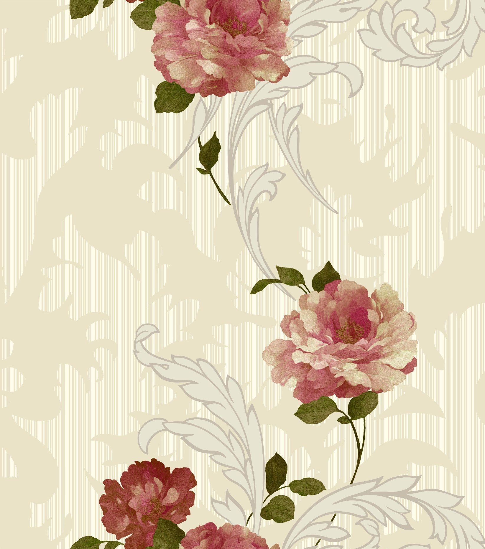 Interior Design Vinyl 3D Flower Wallpaper for Home Decoration