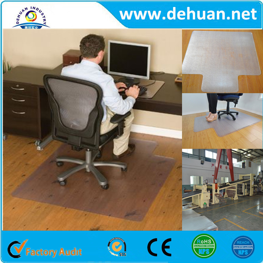 China Factory Wholesale Pppvc Anti Slip Office Chair Mat Wooden