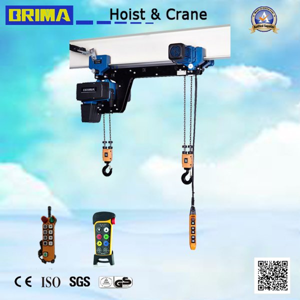 250kg Low Headroom European Electric Chain Hoist with Monorail Trolley