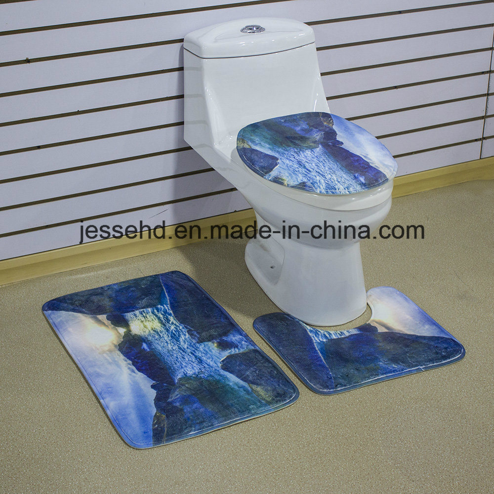 China Hot Selling Waterproof and Non-Slip Floor Bath Mat 3-Piece ...