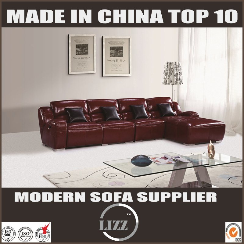 [Hot Item] Recliner Motion Sofa Sectional L Shape Leather Sofa