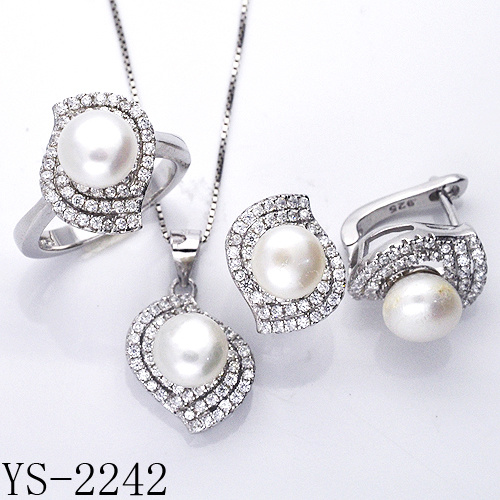 36c6068908 Fashion Jewellery 925 Sterling Silver or Brass Pearl Bridal Jewelry Sets  for Wedding