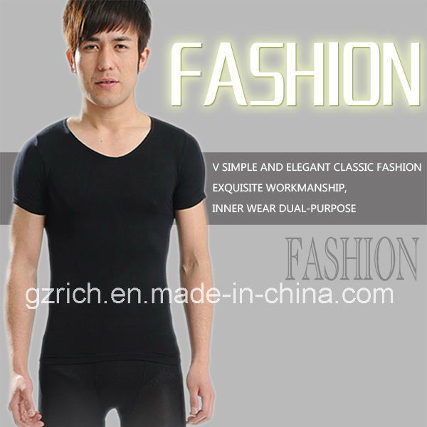 Body Shaper Men′s Taping Inner Black Short Sleeve/Men T-Shirts pictures & photos