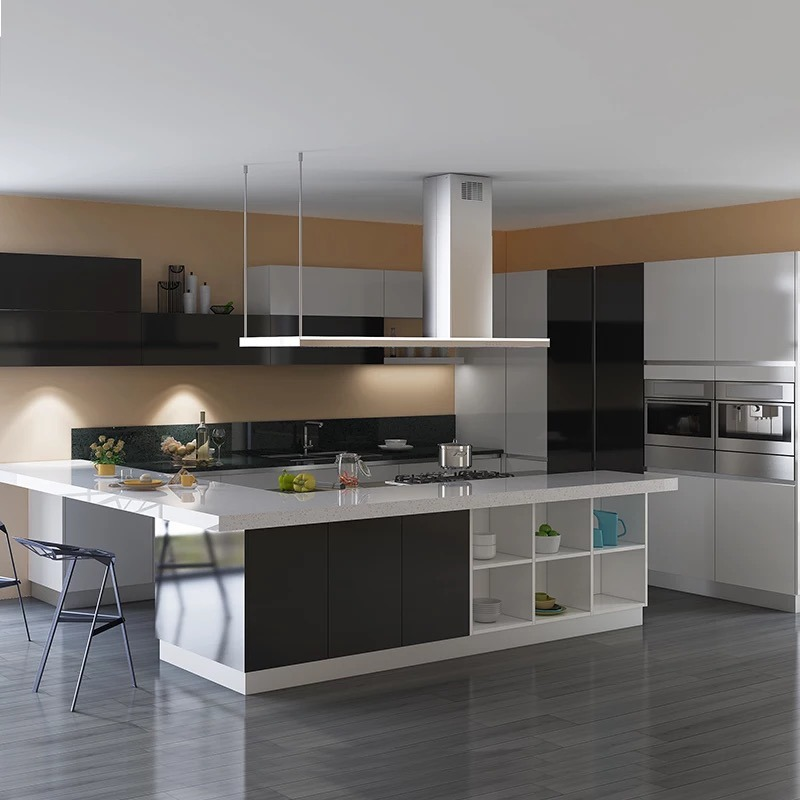 China Best Price Black And Grey Lacquer Modular Kitchen Cupboard China Kitchen Cabinet Kitchen Cabinets