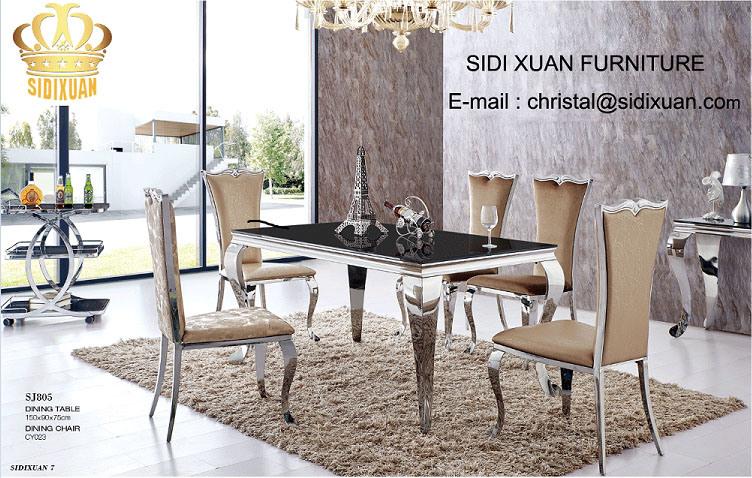 [Hot Item] Dining Table / Living Room furniture / Restaurant Table /  Stainless Steeltable / Hotel Chair / Banquet Chair / Glass Table / Modern  ...