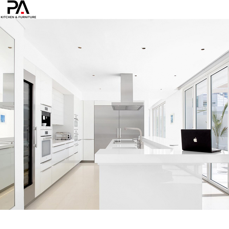 China Latest Modular Waterproof White Gloss Kitchen Cupboards China Kitchen Cabinets Kitchen Furniture