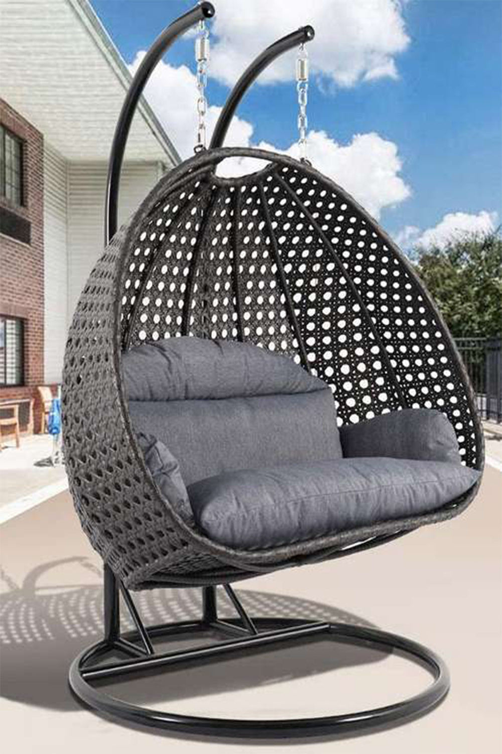 Mid Century Rattan Chair, China Swinging Canopy Hammock Outdoor Indoor Restaurant Double Seat Garden Patio Rattan Egg Swing Chair With Stand China Rattan Wicker Chairs Patio Swing Chair