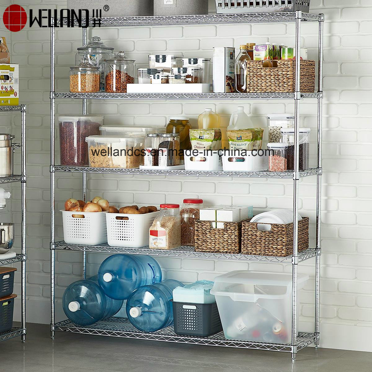 [Hot Item] 5 Tier Wire Shelving Unit Large Steel Commercial Grade Layer  Rack for Kitchen Storage
