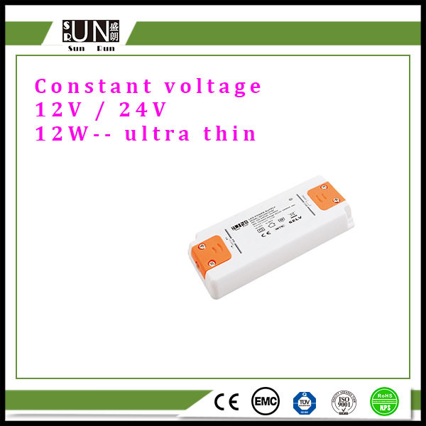 12W Constant Voltage 12V 24V LED Power Supply, 12V Adapter, 24V Transformer, 12W DC12V DC24V Ultra Thin LED Driver