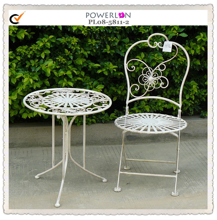 Outstanding Hot Item White Floral Outdoor Flolding Metal Garden Furniture Bralicious Painted Fabric Chair Ideas Braliciousco