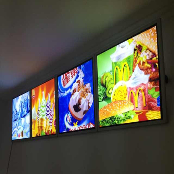 China Restaurant Display Board Led Edge Lit Light Box For