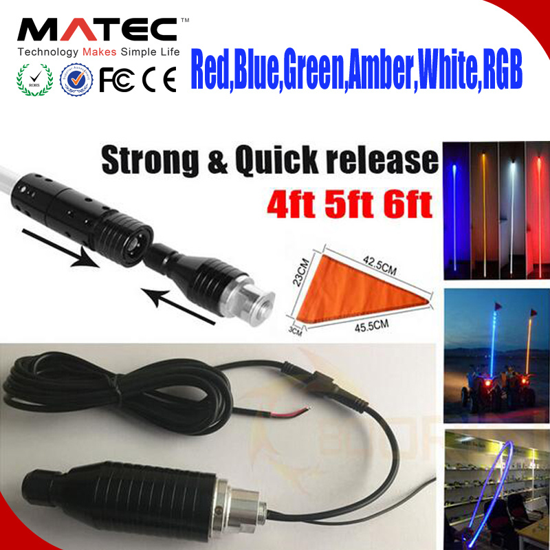 4 feet ATV UTV Led light bulb whip with flag Quick Release Amber