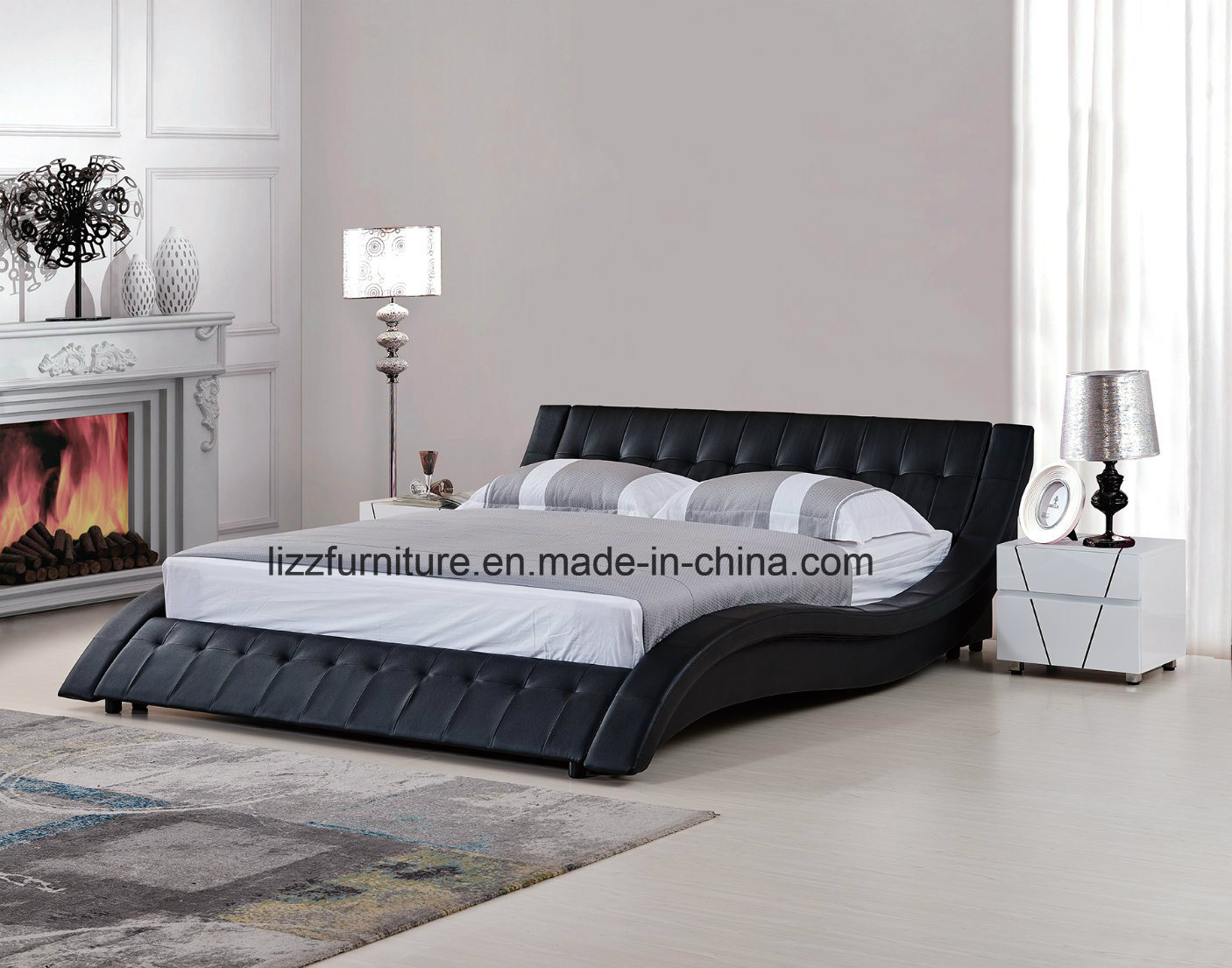China Euro Black Leather Queen Size Curved Shape Platform Bed
