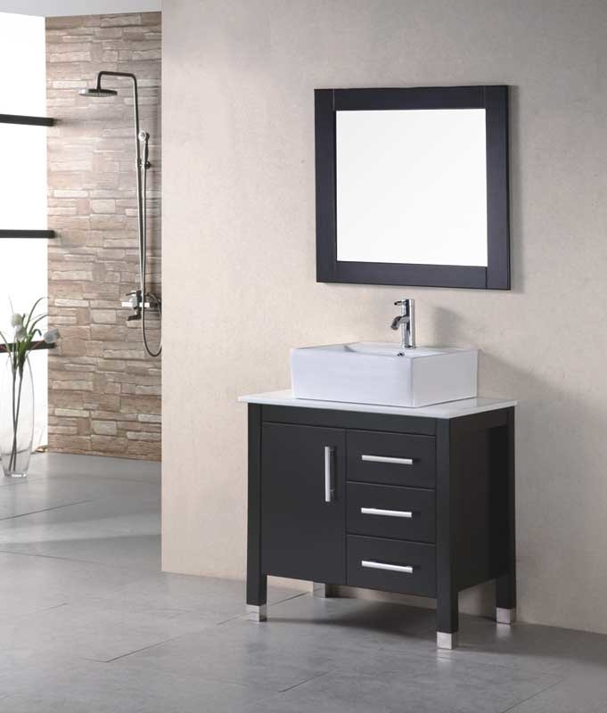 China North America Modern Style Solid Wood Bathroom Vanity With Mirror Cabinet Kitchen