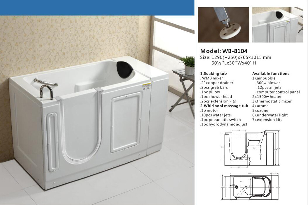China Walk in Tub Shower Combo, Acrylic Hydro Bathtub for Disabled ...