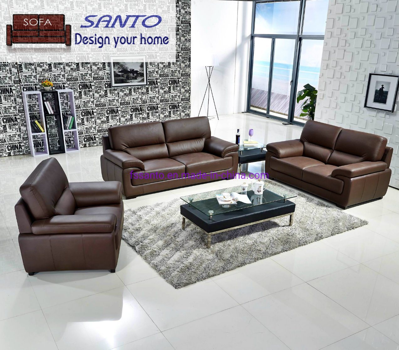 New Design Leather Sofa Set 3 2 1 Seat