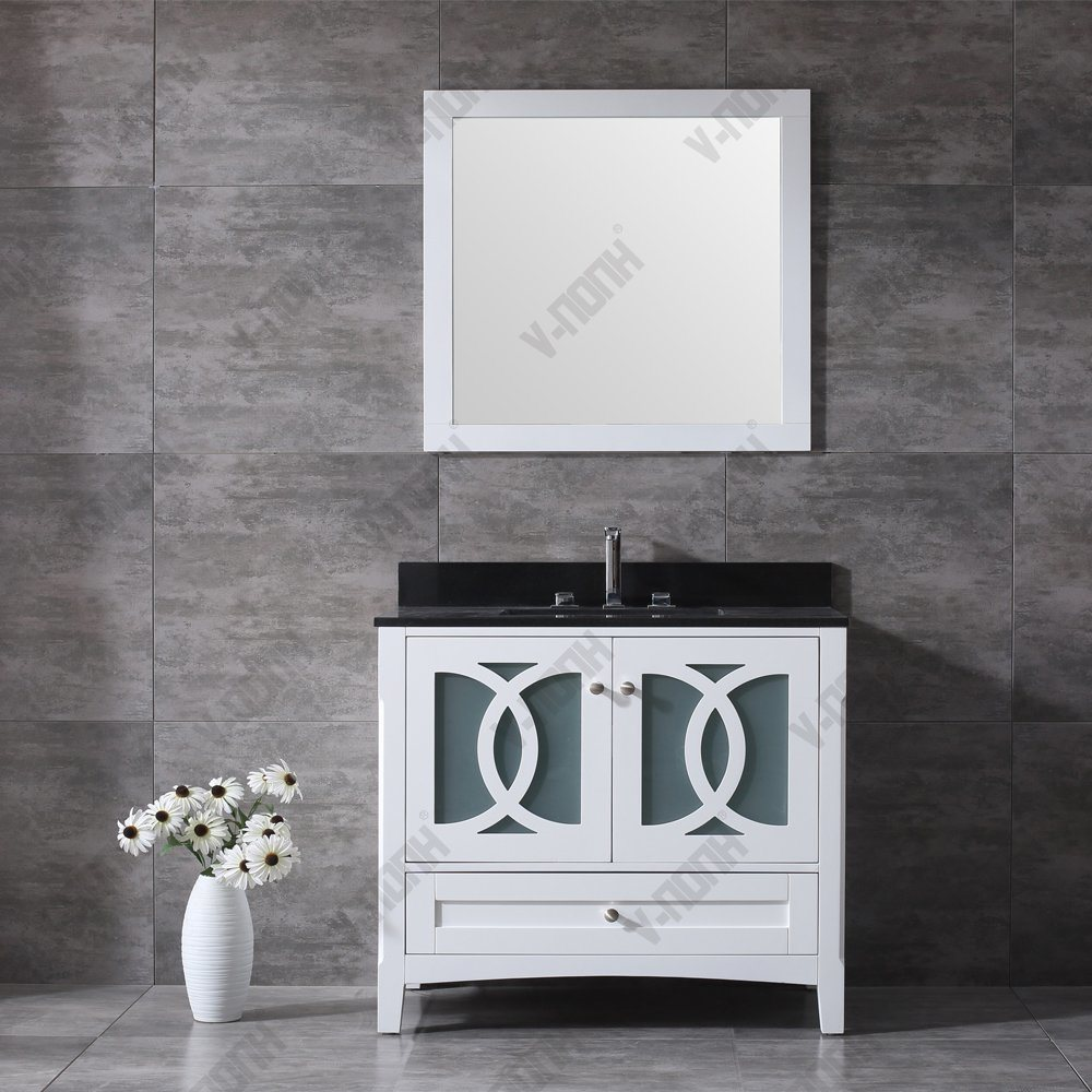 China High Quality Solid Wood Fitted Bathroom Furniture - China